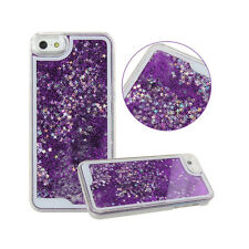 For Iphone 5 5S SE Protective Case Hard Cover Glitter Floating Stars Purple