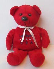 "LAS VEGAS USA RED TEDDY BEAR 9"" PLUSH DOLL, Bean Bag"
