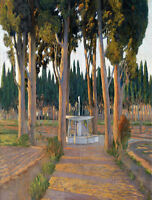 "Oil painting Golden Cypresses - the Orchard of the Duke of Gor landscape 24""X36"""