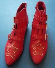 Primark Red Boots Star studs size 6/39 buckles 4cm heel