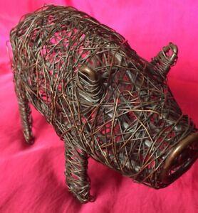 Metal Wire Pig Ornament Indoor /  Outdoor
