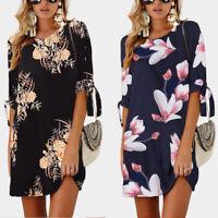 Women's Floral Print Summer Beach Mini Dress Party Shift Dresses Long Tops Short