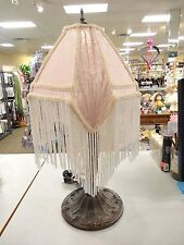 GORGEOUS VINTAGE Ornate Metal Table Lamp With AWESOME Beaded Fringed SHADE WOW!