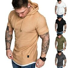 Men Hooded Short Sleeve T Shirt Gym Sports Muscle Hoodie Top Summer Casual Tee
