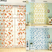 Romantic Bedroom Window Flower Pattern Sheer Curtain Room Divider Home Decor Hot