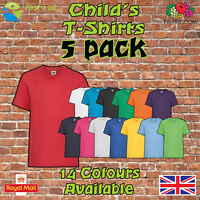 Kids Plain t Shirts fruit of The Loom Children's T-Shirts Childs 5 Pack