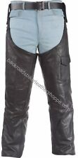 Unisex mens womens leather biker motorcycle chaps leggings