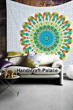 Feather Mandala Psychedelic White Tapestry Art Bohemian Queen Wall Hanging Decor