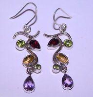 5.70 Gm Natural Multi Cut Stone Earrings Fine 925 Solid Sterling Silver K-565