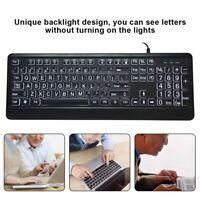 Wired Ergonomic PC Multimedia Keyboard USB 104 Keys LED Backlight for OLD Man