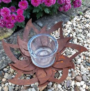 Edelrost Blüte Windlicht m. Glas Teelichthalter Kerzenleuchter Garten Rost Deko