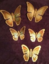 5 Metal Butterflies Gold Tone Home Interior Wall Hanging Butterfly