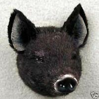 ONE BLACK PIG FURRY ANIMAL MAGNET!  START COLLECTING ANIMAL MAGNETS.