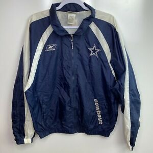 Reebok Windbreaker Jacket Men's M Blue Dallas Cowboys NFL Football Outerwear