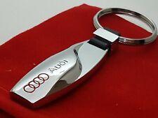 AUDI Car Logo Teardrop Metal Keyring key chain Fob with Velvet Gift Pouch [S3]