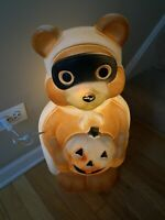 EMPIRE 1995 BANDIT HALLOWEEN TEDDY BEAR BLOW MOLD LIGHTED DECORATION PUMPKIN