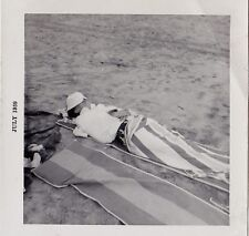 Vintage Photograph Man Laying in Sand on Beach All Covered Up With Hat & Towels