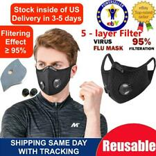 ROCKBROS Outdoor Sports Cycling Scarf Neck Face Mask with Filter Black One Size#