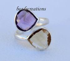 925 Sterling Silver Ring Amethyst, Citrine Gemstone  For Christmas  Gift