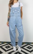 Denim Dungarees Small UK 10 Fitted, 8 XS Oversized Wide Tapered Leg (69BK)