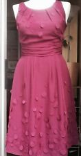 KALIKO Dark Pink Party Dress With Sewn On Polka Dots For Shimmy Look, Size 8
