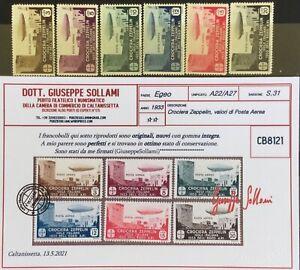Regno 1933 Egeo posta aerea crociera Zeppelin serie completa mnh cert.