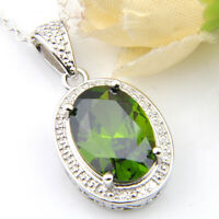 Birthday Gift Olive Peridot Gemstone Silver Charming Necklace Pendant For Woman