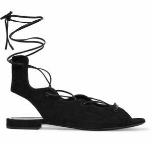 ST. LAURENT 39 Black Suede Lace Up Sandals Flats 8.5