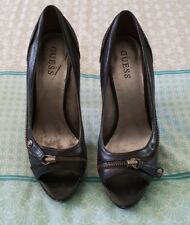 GUESS Black Leather Stilletto Heels Open Toe Zip Sexy Shoes Size 8 B8