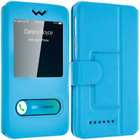 Double window flip standing case for 4.3''– 4.7'' Smartphones, TPU shell – Blue