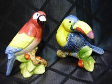 Sakura Salt & Pepper, Parrot & Toucan, Hand Painted