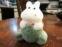 """Fenton Glass White/Green Handpainted """"Pajama Baby"""" Hippo, new"""