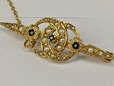 Edwardian stylish 9ct solid gold brooch set with sapphire & pearls