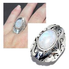 Bague en argent massif 925 et pierre de lune T 50 bijou ring