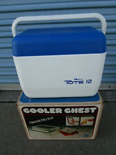 New Gott Tote 12 Vintage Personal Cooler Blue White Ice Chest 12 Qt
