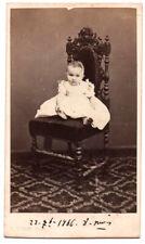CDV Bébé assis sur une chaise Photo Emile Messy Nice Datée 1866 dédicacé au dos