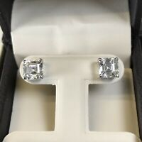 4CT Diamond Studs Earrings Asscher Princess Square Cut Man Made 14kSolid Gold