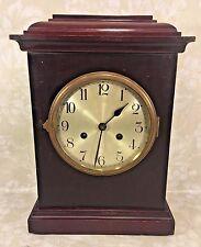 Vtg German Mantel Clock Time & Strike No Pendulum Runs? Silver Face Brass Bezel