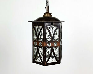 Vintage Arts & Crafts British Metal & Textured Glass Hall Lantern Pendant Lamp
