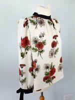 Zara Size M 12 14 White Multi Tie Sleeve Floral Blouse Top Button Back Party
