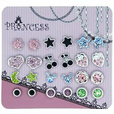 Pack of 12 Color Crystal Magnetic Stud Earrings for Girls Kids