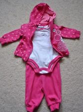 First Impressions Girls' 3-Piece Pink Polka Dot Jacket & Bodysuit & Pants - 0-3M