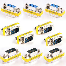 10X 9-Pin DB9 Male to Female Adapter Adaptor Gender Changer Serial RS232 Coupler