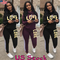Womens Casual Tracksuit Hoodies Sweatshirt + Pants 2Pcs Set Jogger Sport Wear