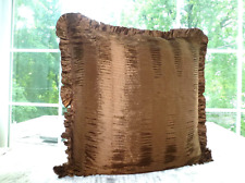 """One Dkny Purple Plum Rushed Brown Linen Striped Euro Pillow Sham 26"""" Square"""