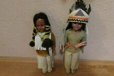 2 Small Native American Dressed Dolls - Hard Plastic - Vintage