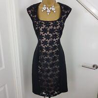 Mint Velvet Dress Pencil Midi Sleeveless Embroidered Floral Black Size UK 10