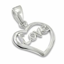 Sterling Silver 925 Love Word Heart Necklace Pendant