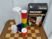 Vintage Ingrid White Drink Connection Picnic De Stijl MoMA Style Pitcher Cup Set