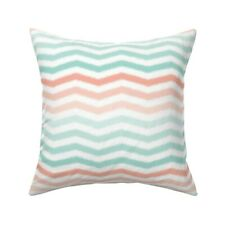 Ombre Coral Mint Stripe Zig Zag Throw Pillow Cover w Optional Insert by Roostery